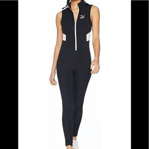 NWT Women's PUMA retro rib overall bodysuit Sz L